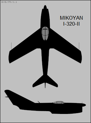 Mikoyan-Gurevich I-320-II two-view silhouette